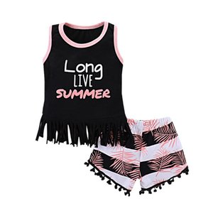 Wholesale live vest for sale - Group buy INS Baby Clothes Sets Long Live Summer Printed Tassel Vest Shorts Set Summer Sleeveless Kids Outfits Baby Clothing YW2109