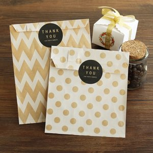 Wholesale 36pcs Kraft Paper Bags Chevron Striped Dots Paper Craft Bag Cookie Candy Box Party Favor Candy Gift Packing Bags Wedding Supply