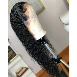 Wholesale Free Shipping Black Loose Curly Synthetic Lace Front Wig Baby Hair Water Wave Heat Resistant Fiber Hair Half Hand Tied Wigs For Women