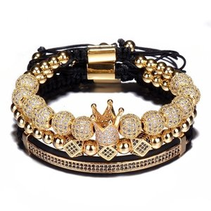 Wholesale 3pcs Set Hip Hop Gold Crown Bracelets 8MM Cubic Micro Pave CZ Ball Charm Braided Braiding Man Luxury Jewelry Pulseira Bileklik Bracelet