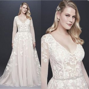 Wholesale Fat Ladies A Line Wedding Dresses beaded sash tulle Appliques Lace Decoration Elegant long sleeves Bridal plus size