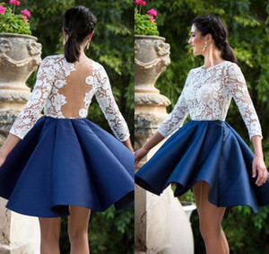 Wholesale White Top Royal Blue Skirt Homecoming Dresses Sheer Long Sleeve Short Prom Gowns Plus Size Cocktail Dress Country Bridesmaid Dress