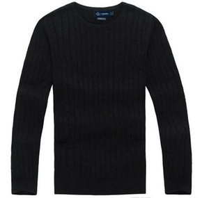Wholesale Fashion-2018 New High Quality polo Men's Twisted Needle Sweater Knitted Cotton Round neck Sweater Pullover Sweater Male size S-XXL
