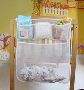 Wholesale Baby Cot Bed Hanging Storage Bag Crib Organizer Toy Diaper Pocket For Cradle Bedding accessory LE356