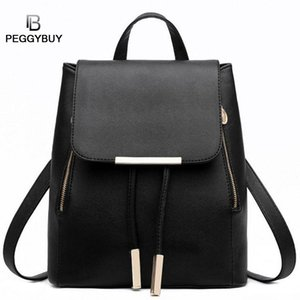 Women Pu Leather Backpack Solid String Backpacks For Girl Medium Shoulder Bags Lady Casual Style Rucksack Feminina Mochila 2019 #252356