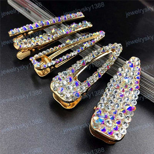 Colorful Crystal Rhinestone Letter Hair Clips Lady Wedding Party Hair Pins Fashion Girl Letter Barrettes Woman Hair Accession