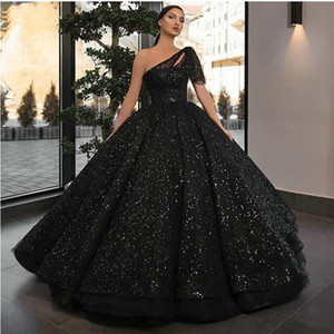Wholesale Sparkly Boho Black Evening Gowns Long 2020 One Shoulder Sequin fluffy Ball Gown Formal Dresses Custom Made Arabic Evening Dress Abendkleid