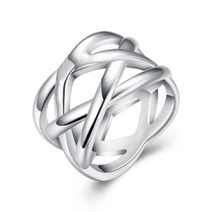 Big Cross Weave Ring Silver-plated Rings For Women,Fine Fashion Jewelry,Full Size Fish Net Jewelry Women Finger Rings