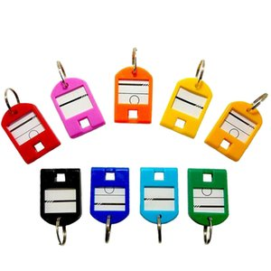 Wholesale 50Pcs Colorful Plastic Luggage Id Bag Label Key Tags Keychain Accessories Men Key Chain Creative Girls Keychain