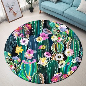 Wholesale Tropical Cactus Flower Round Rugs And Carpets for Kids Baby Home Living Room Memory Foam Bedroom Hallway Floor Door Bath Mats