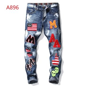 Wholesale men designer clothes denim jumpsuit jean pants korean rock splash ink stretch moto distressed ripped skinny men hole jeans