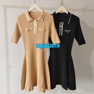 Wholesale new dress girls lapel for sale - Group buy high end women girls knit shirt dress jacquard striped lapel neck short sleeve stretch a line skirt summer fashion design new dresses