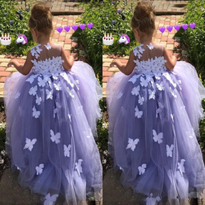 Wholesale 2019 Ball Gown Flower Girl Dresses Tulle D butterfly Floral Appliques Pageant Gowns Butterfly Communion Fancy Dress Costumes custom made
