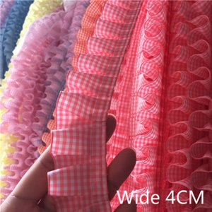 Wholesale 4cm Wide Plaid Pleated Cloth Tulle Lace Ruffle Ribbon Edge Trim For Collar Applique Sofa Curtain Diy Sewing Guipure Supplies