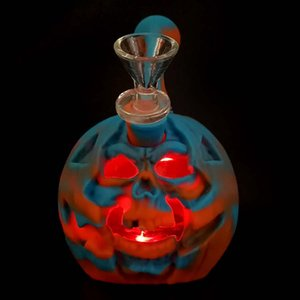 "6"" Skull Pumpkin water pipe Halloween Dab Rig Silicone bong dab rig with glass bowl & LED light portable"