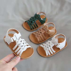 Wholesale toddler sandals resale online - 2020 New Girls Sandals Summer Solid Color Baby Girl Shoes First Walkers Woven Sandals Toddler Girl Beach Non slip SSW082