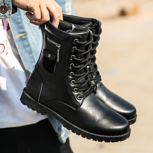 Wholesale Popular Fashion Men High Top Casual Shoes Comfortable Brands Boots Waterproof Non slip Male Light Adultos Mens Boots Black Brown