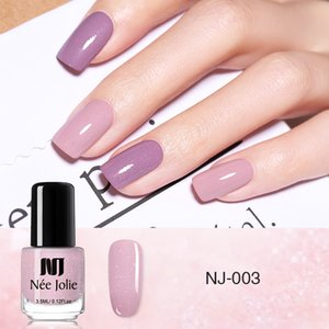 NEE JOLIE 3.5ml Nude Candy Color Nail Polish Semi-transparent Nail Art Varnish Pink Glitter Shimmer Polish Design on Sale