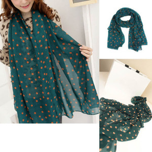 Wholesale Green New Style Real chiffon Classic Polka Dot Scarf Long Chiffon Scarf Women s Korean Version Silk High Quality