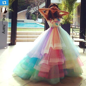Rainbow Colorful Prom Dresses Sweetheart Layers Organza Handmade Flowers Graduation Dress Beads Pleats Princess Pageant Quinceanera Dress on Sale