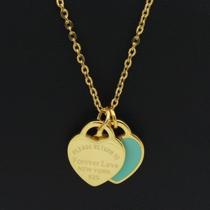 Wholesale New Arrival Love Double Heart Enamel Ladie FOREVER LOVE Stainless Steel Necklace Drift Bottles Jewelry Gift For Women