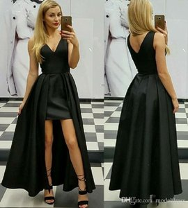 Wholesale sexy modest prom dresses for sale - Group buy Sexy Black Overskirt Prom Dresses V Neck A Line Floor Length Modest Pink Evening Party Pageant Gowns Vestidos De Fiesta