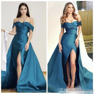 Mermaid Long Evening Girls Pageant Dresses formal prom dresses party wear with Overskirt Split Off Shoulder on Sale