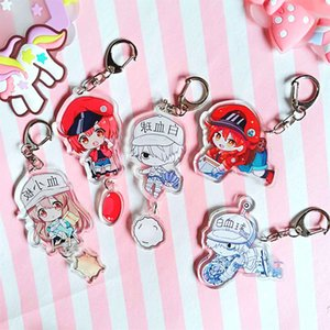 Catoon Anime Cells At Work Keyring Character Acrylic Toy Figure Keychain Killer T Cell Red White Blood Cell Bag Accessories Souvenir