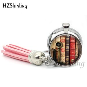 Wholesale 2019 Fashion Vintage Books Tassel Key Chain Book Page Keyring Gifts For Bibliophile Handmade Silver Round Keychain Bohemian TAK