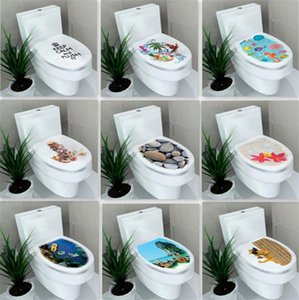 Wholesale Waterproof toilet sticker hardcover toilet sticker environmental nightstool stickers bathroom decoration stickers new commode paster T6I6007