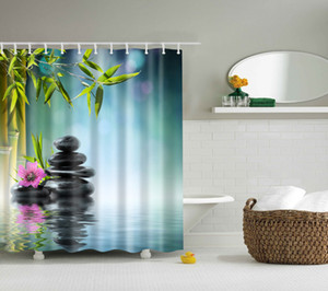 high quality SPA Waterproof Shower Curtain Digital Printing Bathroom Decoration Shocking Landscape Shower Curtains 180*180 CM
