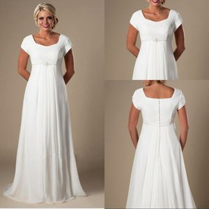 Wholesale Plus size Wedding Dress Lace Informal Lvory Beach Pregnant Bridal Dress Short Sleeves Beaded Chiffon Empire Fast shipping