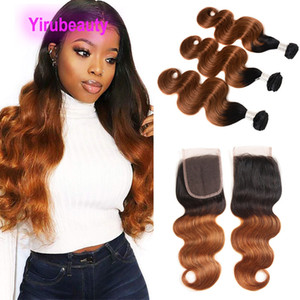 Wholesale ombre human hair piece for sale - Group buy Peruvian Human Hair Bundles Ombre Hair With X4 Lace Closure Pieces Body Wave B Bundles With Closure Middle Three Free Part