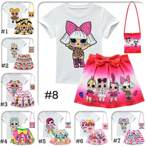 Wholesale DHL LOL Girls Suits 10 Style 3-10Y Kids Outfits 3pcs set tshirt+skirt+bag LOL Surprise Girls Skirt Tee Suit INS Baby Summer Clothing Set
