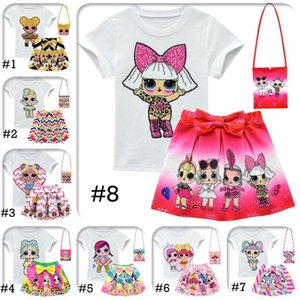 LOL Girls Suits 10 Style 3-10Y LOL Kids Outfits 3pcs set tshirt+skirt+bag LOL Surprise Girls Skirt Tee Suit INS Baby Summer Clothing Set on Sale