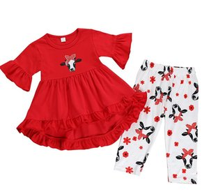 Wholesale hot sale COW Print girls Fashion clothing set Kids RED ruffle outfit set clothes for kids fly sleeve DRESS PANTS set