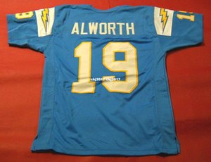 Cheap retro #19 LANCE ALWORTH CUSTOM High-end MITCHELL & NESS Jersey bule Mens Stitching High-end Size S-5XL Football Jerseys College NCAA