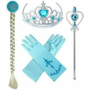 Wholesale Girls Snow Queen II Fancy Dress Wand Tiara Crown Gloves Wig Piece Set Kids Child s Princess Cosplay Costume Inspired Toys A110702