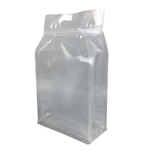Wholesale 50pcs cm high clear PET eight sides standing package bag with handle transparent plastic poly food pack bag pouch rice storage bag