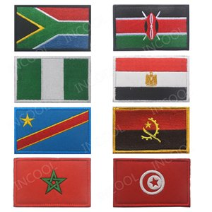 South Africa Egypt Kenya Congo Nigeria Angola Morocco Tunisia Flag Embroidery Patch Flags Badges Morale Patches Appliques Emblem
