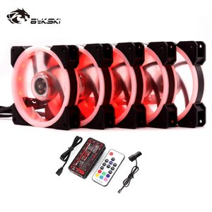 Wholesale Bykski Water Cooling Radiator Fan Computer PC Case Fan mm Adjustable LED Light v RGB Controller Heatsink Cooler Mute