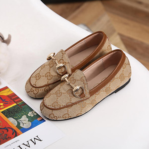 Girls Designer Dress Suit Shoe Slip-On Metal Buckle Luxury Party Shoes Casual Embroidery Print Horsebit Loafers EUR 26-35 3 Colors on Sale