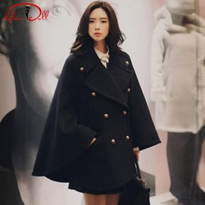 Wholesale 2019 Winter Black Cap Coat Thick Wool Blend Cloth Women Double Breasted Long Loose Casual Outer