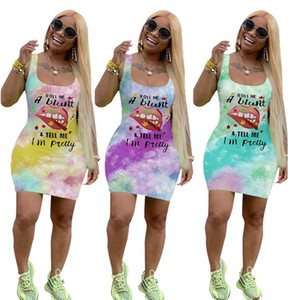 Wholesale lip ties for sale - Group buy Women Dresses Summer Letters Print Vest Sleeveless Dress Lip Tie Dye Fashion Casual T Shirt Mini Skirt Bodycon Dresses D6502