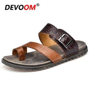 Leather Slippers 2019 Sleepers Men Cow Leather+Mesh Canvas Upper Man Shoes Summer Beach Flip Flops Lightweight Sandalias Hombre