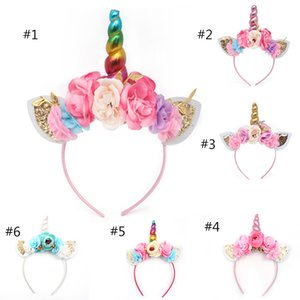 Wholesale Brand new women kids party gold silver horn headband flower horn girls hats birthday headband hair accessories