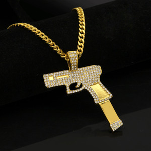 Wholesale Pistol Pendant Necklaces Hiphop Jewelry For Men Top Quality Fashion Hip Hop Twist Chains Gold Plated Full Diamond Accessories