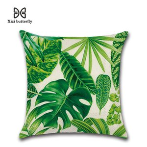 Cotton Leaves Rainforst Pillow Case Gradient Cover Cushion Cover Insert Square Fashion rainforest leaves pillowcase cushion cover on Sale