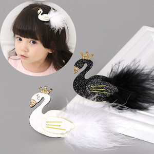 Wholesale Glitter White Black Swan Hair Clips with Gold Crown Barrette with feather Princess Hairpins Baby Children Kids Hair Accessories