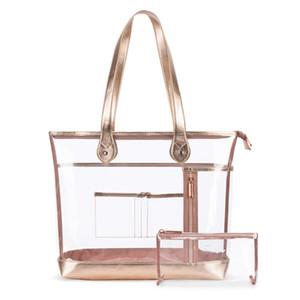 Tote Large Clear Bag PGA Stadium Approved Heavy Duty Transparent Shoulder Beach Bag with Small Clear Makeup Bag